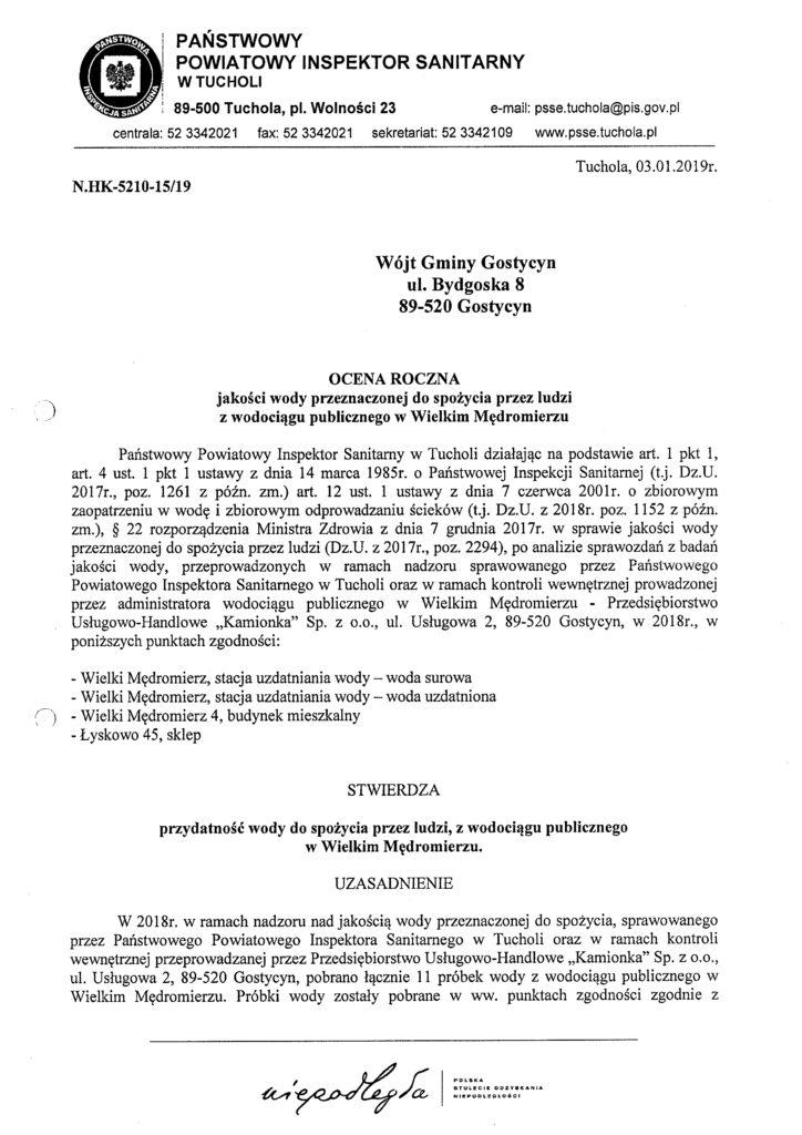 ee6dd95d2af123 Ocena roczna jakości wody SUW Wielki Mędromierz, Piła i Pruszcz ...